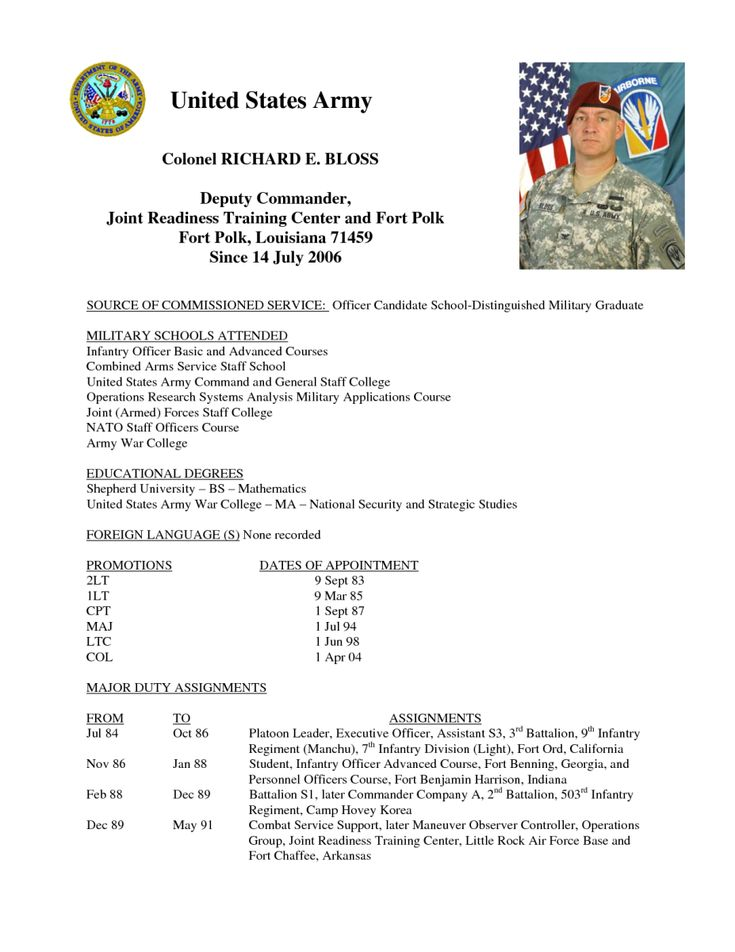 Army resume of service for Military biography template