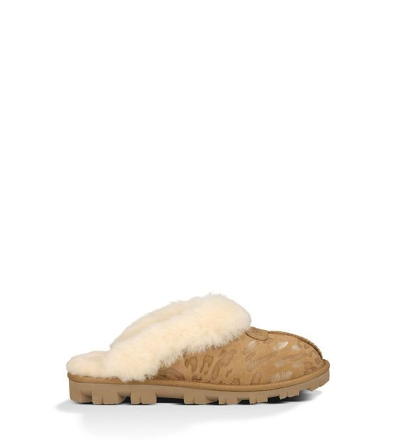 UGG Slippers cozy and comfy.  I like the hard soles.  Coquette Leopard