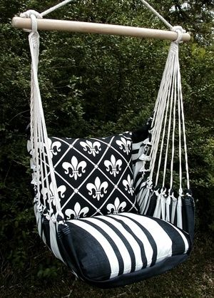 Black French Quarter Hammock Chair Swing Set. I love these colors, but I don't like the design. I would have to do it over in some other pattern.