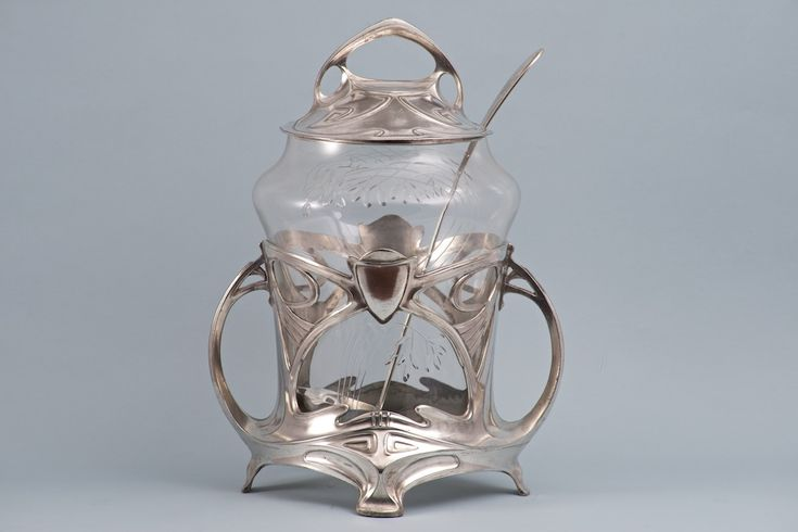 JUVENTA Art Nouveau Prima Metal Punch Bowl, silver plated, cut & engraved crystal glass lining. Circa 1900