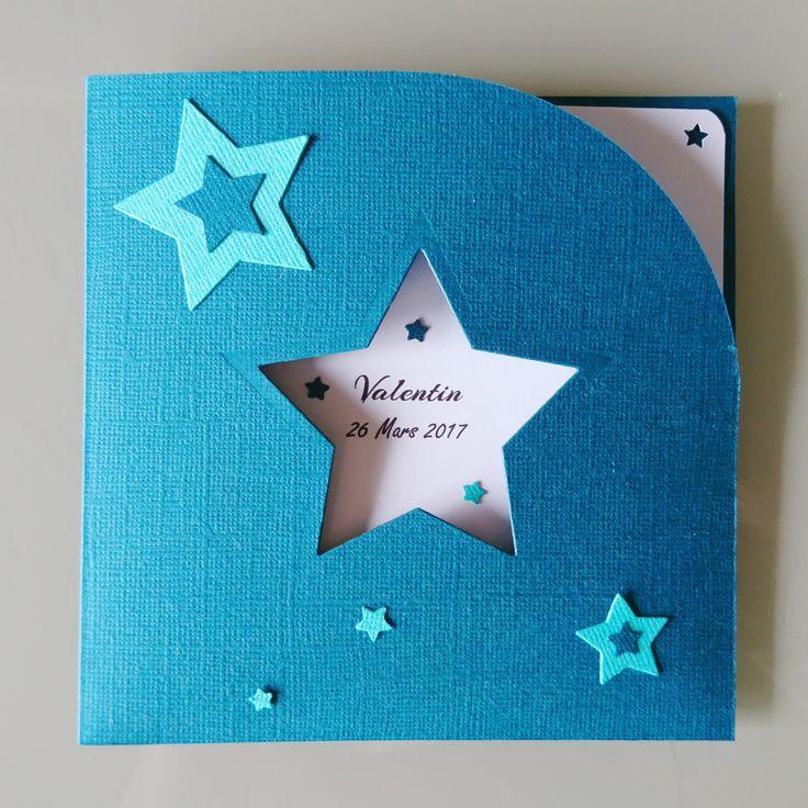 Faire-part baptême garçon - Thème étoiles bleues - Faire-part de naissance, mariage, anniversaire : Faire-part par klrkrea