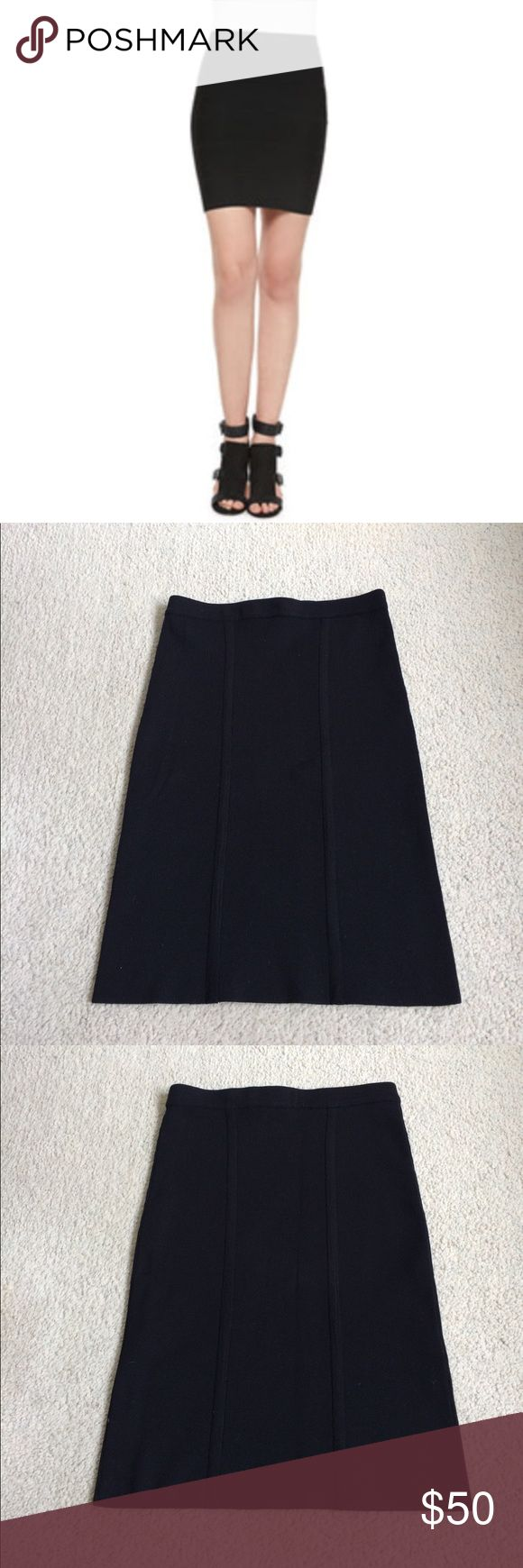"""EUC BCBGMAXAZRIA Knit Bodycon Mini Pencil Skirt Sexy Bodycon Knit skirt from BCBGMAXAZRIA. Thick and stretchy Knit with double ribbing down the center on each side. Waist 11"""" hips 13"""" (but also has a ton of stretch) length 19"""". 79% silk 19% nylon 2% spandex. Only worn a couple of times. Still in great condition! BCBGMaxAzria Skirts Mini"""