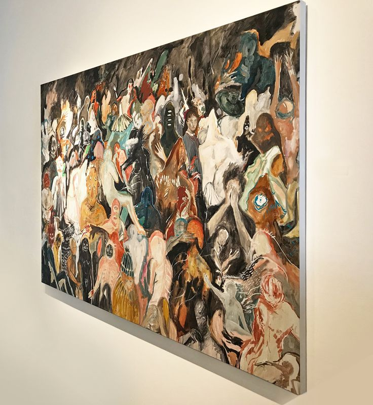 Michelle Nguyen's darkly whimsical paintings explore subjects pertaining to ephemerality and divine myth with humor. Working primarily in oil paint, her canvases, populated by liminal figures inhabiting cavernous shadows, can easily be described as hauntingly intrusive.