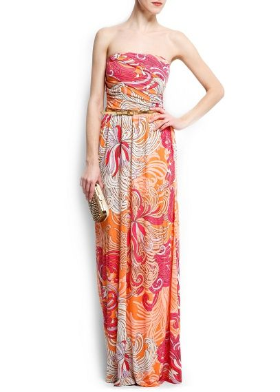 Strapless printed gown