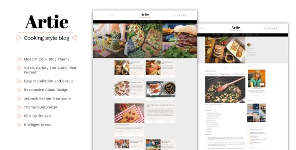 Artie is a modern and easy-to-use WordPress theme specially built for bloggers who love sharing her recipes, tips and writings about food. It comes with a crafted design and options very easy to setup for styling the blog layout (one column plus a sidebar or two posts columns), many post formats and featuring your most important posts marking them as sticky.  #food #blog #design #template
