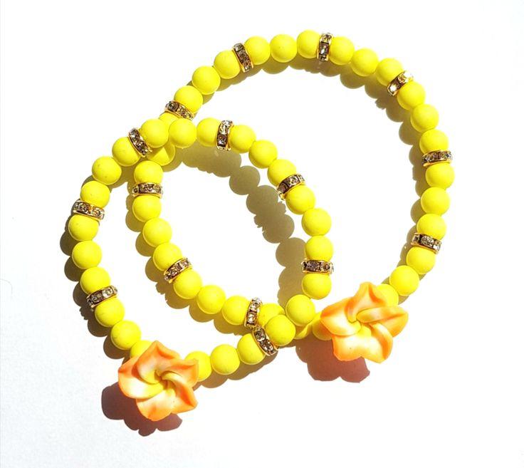 Moeder Dochter Armbanden Set Geel met Oranje bloem
