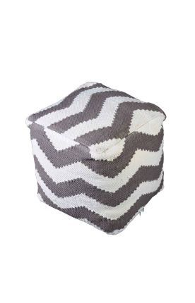Rugs Usa Poufs Cotton Chindi Chevron Pouf Taupe Ottoman Discount Home Decor Interior