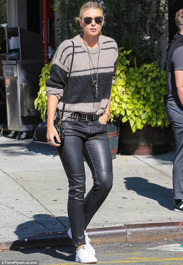 How to solve a problem like Maria: Sharapova celebrated the reduction of her drug ban by wearing leather trousers in New York on Wednesday