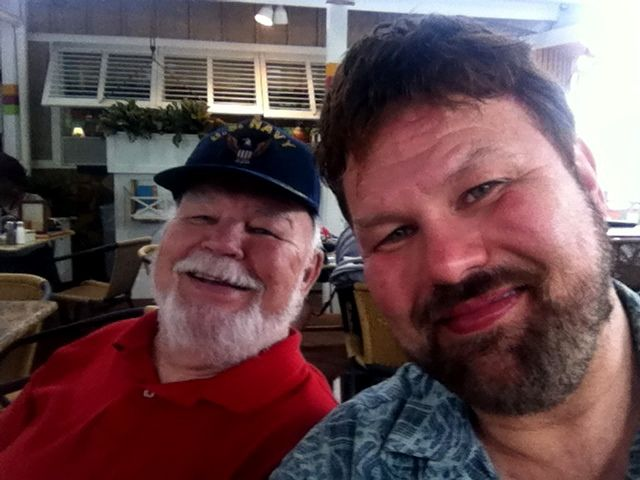 At Bahama Breeze in Alpharetta, Georgia with my Dad celebrating his 80th Birthday. - August 7, 2014
