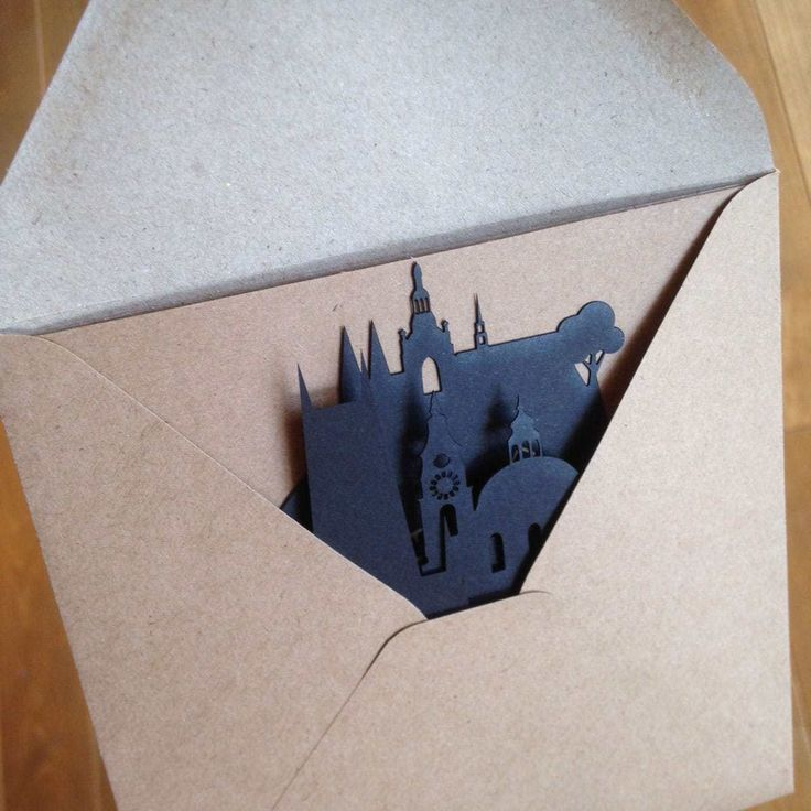 Postcard: silhouette of Prague
