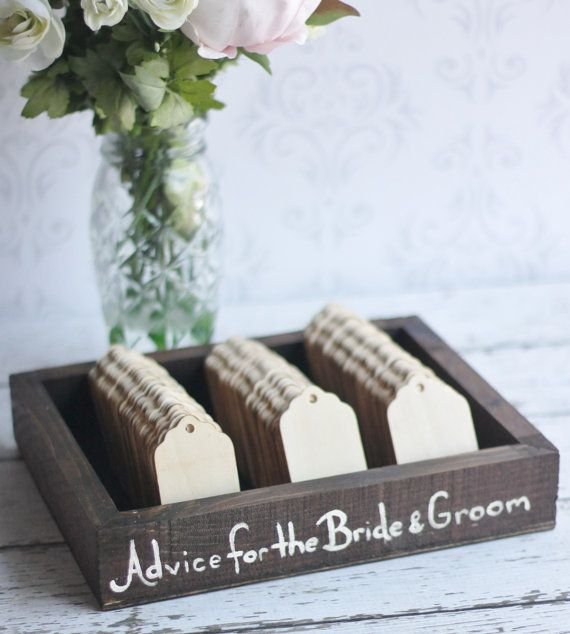 Rustic Guest Book Box Advice For The Bride and Groom Wishing Tree Tags