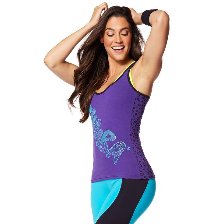 ZUMBA COMIC RACERBACK - GALAXY --------------------------------- Funk up the dance floor in the Zumba Comic Racerback! This regular length tank features Z-Dri® technology to wick away sweat and a fun print to add some attitude to your outfit.