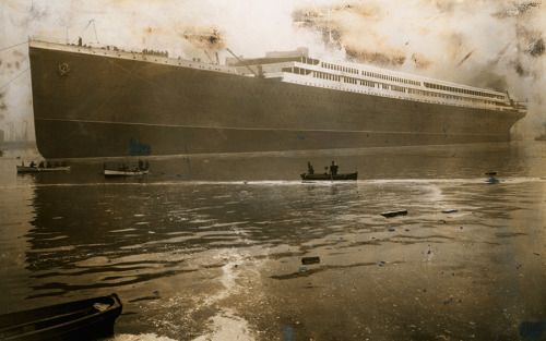The Britannic, a massive British steamer and sister ship to the Titanic, launches from Belfast Harbor in 1914. The Britannic sank two years later after encountering a German mine field in the Meditteranean sea.No Credit Given