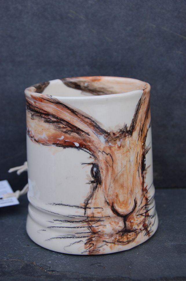Hare mug, hand painted, earthenware £17.00
