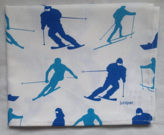 Skiing and snowboarding tea towel  blue skiing and