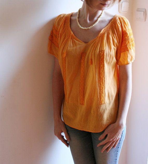 Boho blouse, vintage blouse, hippie blouse, gauze blouse, bohemian blouse, yellow blouse, bohemian clothing, hippie top, festival blouse