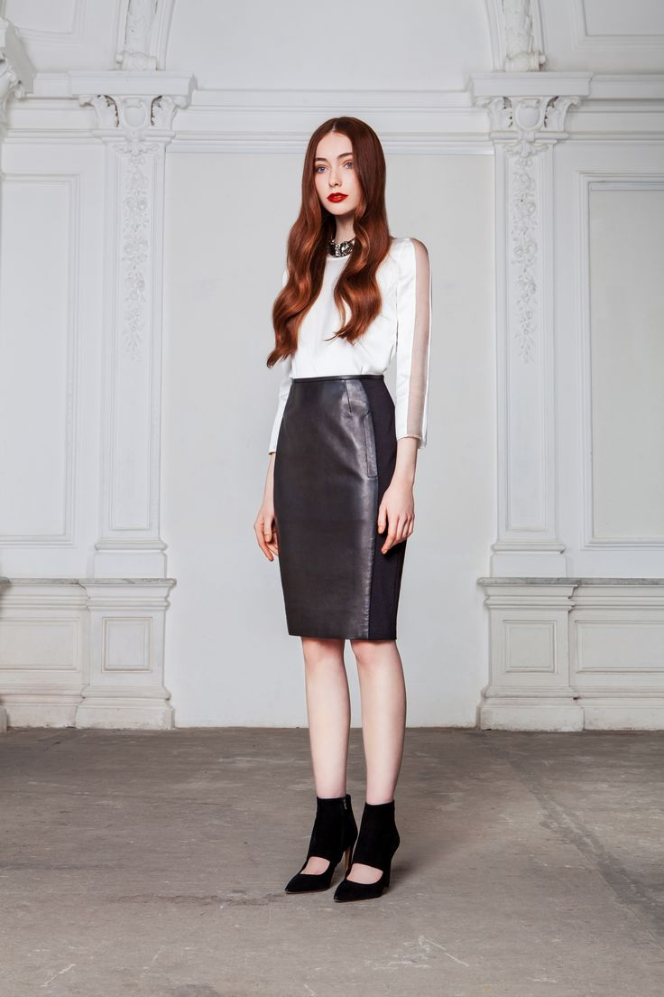 "LUBLU Kira Plastinina ""Leather pencil skirt"" and ""Chic sillk blouse."""