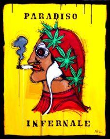 Paradiso Infernale http://www.pisacanearte.it/index.php/artisti/y/yux/yux-paradiso-infernale-acrilico-pastelli-a-cera-smalto-e-manifesti-su-tela-80x100-cm.html