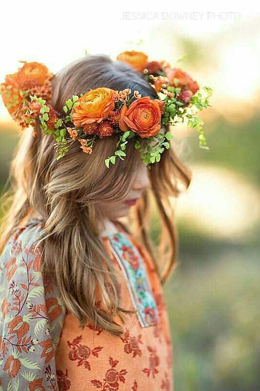 Orange Ranunculus, Green Maiden Hair Fern Fresh Floral Halo