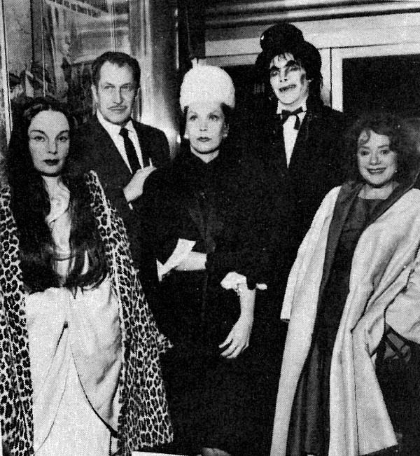 Carroll Borland (Mark Of The Vampire), Vincent Price, Maila Nurmi (Vampira), horror host Jeepers Creepers & Elsa Lanchester, at The Tomb of Ligeia premiere, Hollywood, 1965..jpg