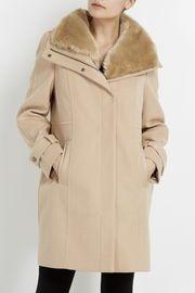 Honey Faux Fur Collar Funnel Coat