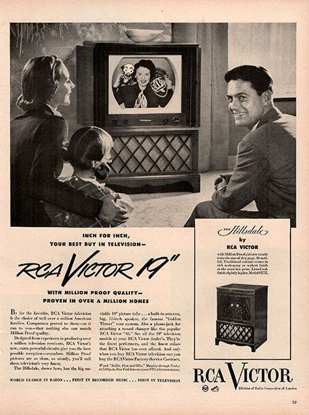 "1951 RCA Victor 19 inch TV Television Original Home and Office Print Ad -An original vintage 1951 advertisement, not a reproduction -Measures approximately 10"" x 13"" to 11"" x 14"" -Ready for matting an"