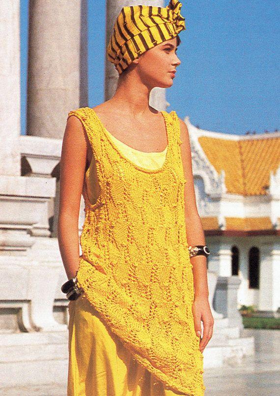 PDF Womens Ladies ETHNIC Tunic Dress Knitting Pattern Boho