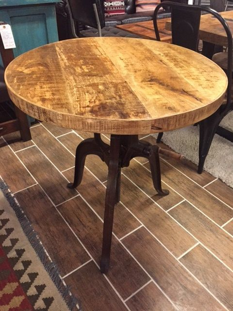 Distressed Industrial Crank Bistro Table With Adjustable Height $700