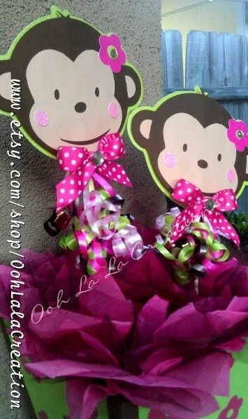 Best 25 monkey centerpiece ideas on pinterest monkey - Baby shower monkey decorations for a girl ...