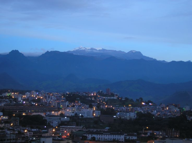 """""""Nevado del Ruiz"""" (El Ruiz snow peak). Part of Los Nevados National Park. This picture was taken on December 27, 2006 at around 6:30 pm local time, from Manizales. 20 years ago, snow used to cover the mountain peak and the """"La Olleta"""" volcano. The top left of the mountain is showing signs of activity coming from the Arenas crater, which points to the other side (eastward) of Los Andes mountain range. This crater exploded in 1985, causing a lahar that buried the 25.000-people city of Armero…"""