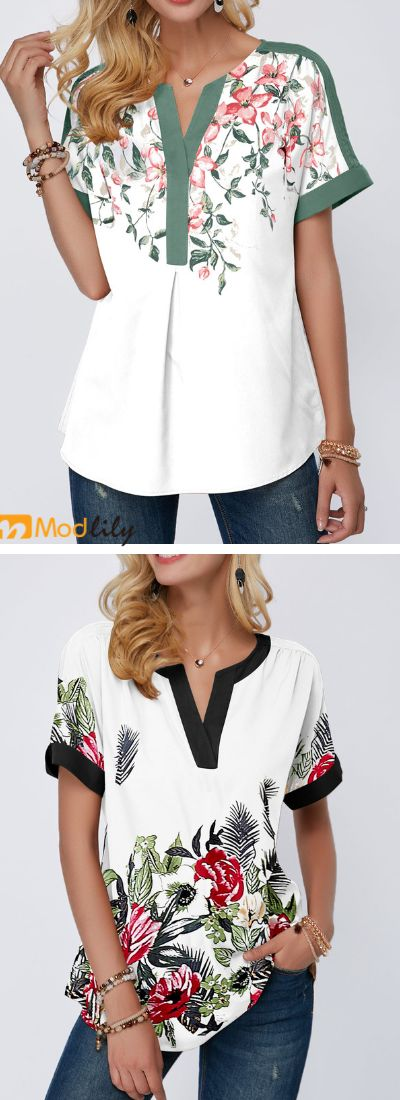 split neck blouse, short sleeve, summer outfit, po…