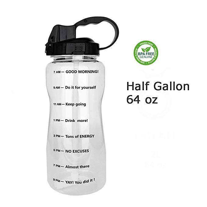 Amazon Com Quifit Portable Drinking Straw Daily Water Bottle Sport Water Jug Gallon Bpa Free Non Leak De Motivational Water Bottle Gallon Water Bottle Bottle