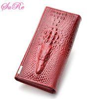 Women's PU Leather Crocodile Envelope Long Clutch Purse