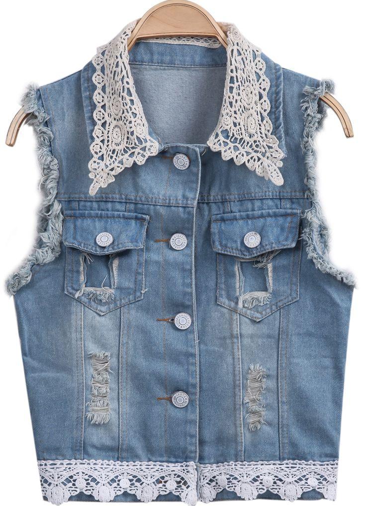 Blue Sleeveless Lace Ripped Denim Vest 21.67