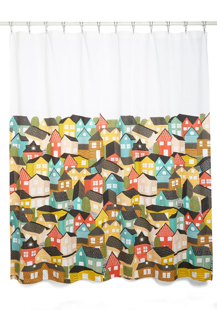 Paint the Town Charming Shower Curtain. A village of colorful houses adorns this bright white shower curtain! #multi #modcloth
