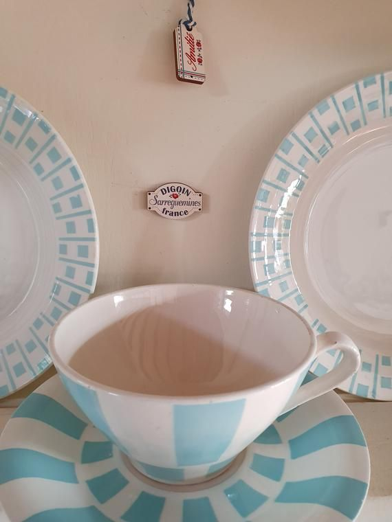 French Vintage 1 Cup And Saucer Cafe Au Lait Bowl Hot Chocolat Pastel Blue Checkered Decor California Shabby Chic Brocante Gift Checkered Decor Cup And Saucer Beautiful Bowls