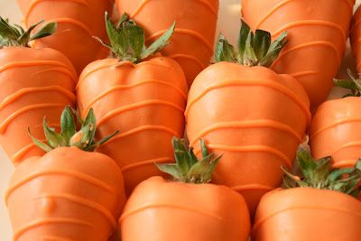 """""""Carrots"""" created with Chocolate-covered Strawberries (simple trick: orange food coloring)"""