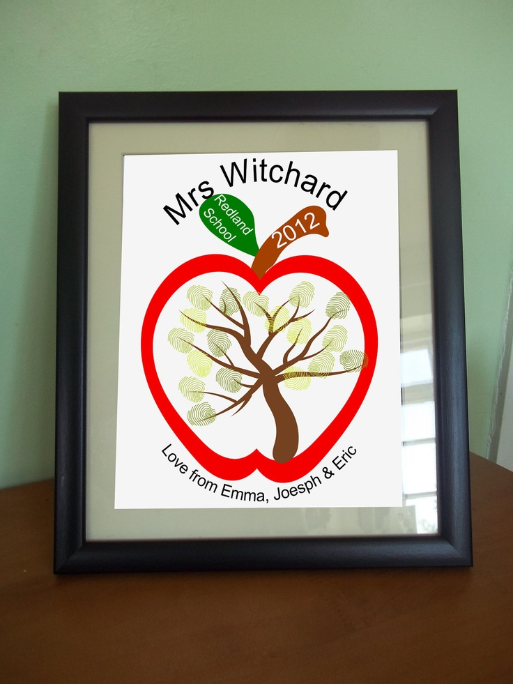 Personalised custom Printable Thank you Teacher fingerprint Tree wall art gift Apple card retirement gift Preschool kindergarten school. £3.00, via Etsy.