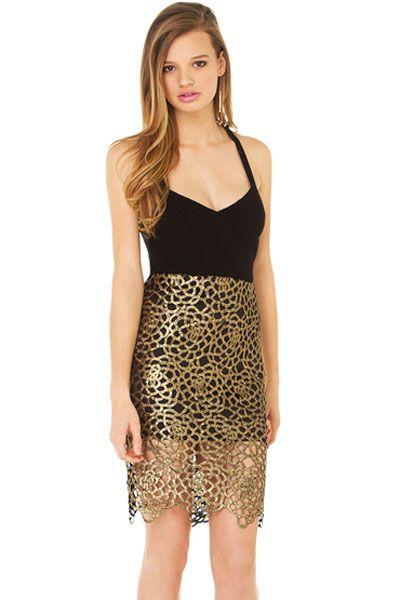 Fashion Lady Black Gold Skirt Set