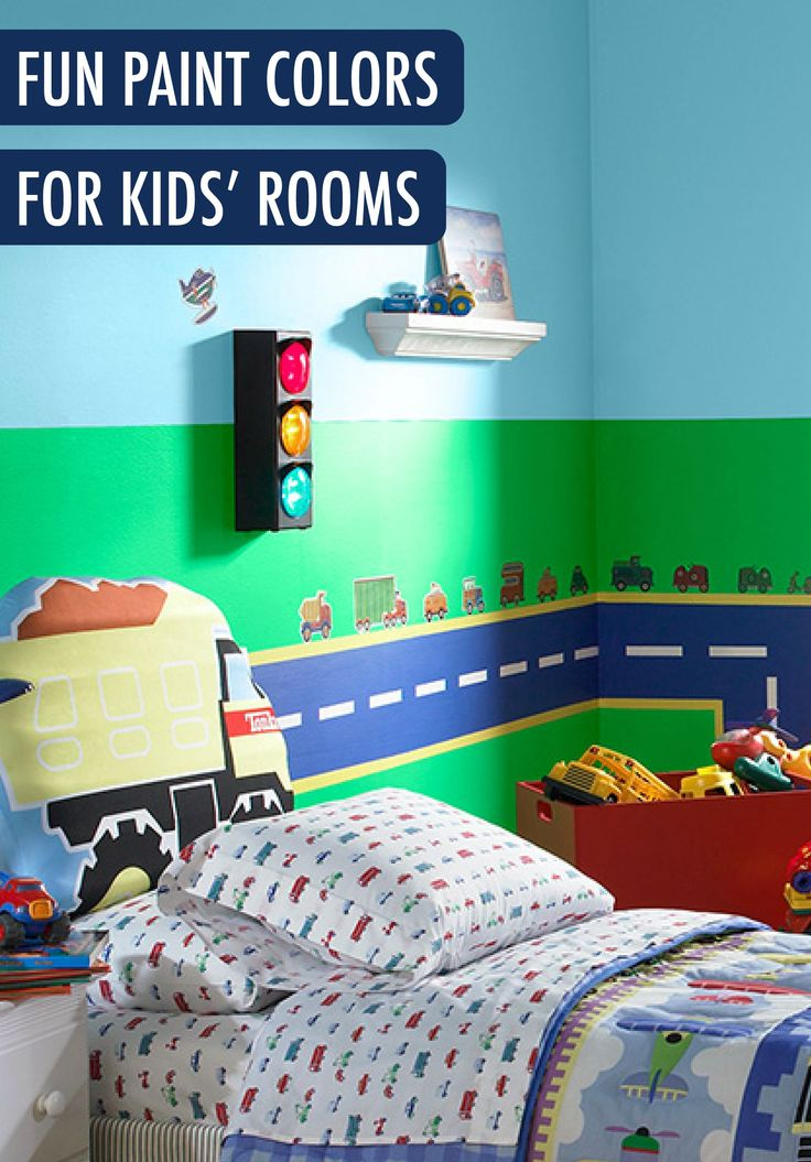 Give your kids room a fun personalized wall mural that for Colors for kids room