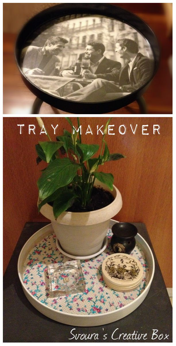 DIY Serving Tray Makeover! Easy way to transform an old tray to a new one. Step by step instructions with photos. Enjoy Creativity! #before_after