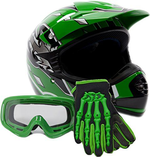 Youth Offroad Gear Combo Helmet Gloves Goggles DOT Motocross ATV Dirt Bike MX Motorcycle Green (Medium)