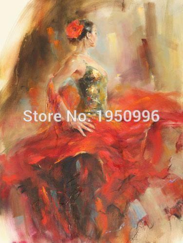 Сексуальный танцор-посвященный девушка фламенко испанский женщина тепла танцы балерина картина маслом на холсте фламенко стены pactures