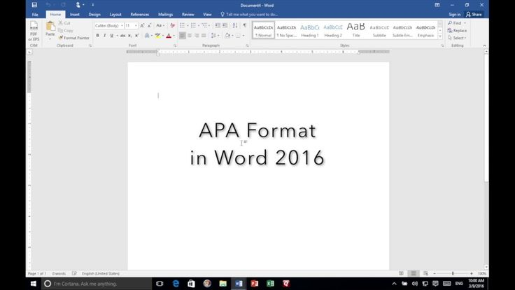 apa cover page in word