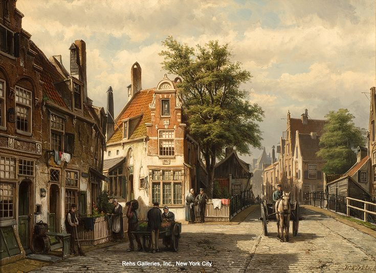 Willem Koekkoek (1839 - 1895) A Busy Street in Summer, Enkhuizen Oil on canvas 17 3/8 x 23 3/4 inches Signed