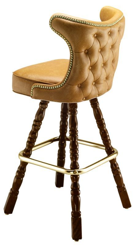 Hand upholstered seat and decorative wooden legs make this restaurant bar stool pretty unique