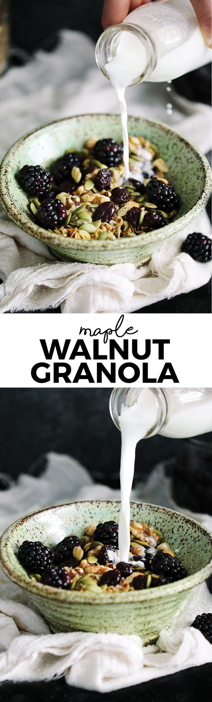 Make your own homemade granola with healthy, whole ingredients you already have in your kitchen. You're going to love this naturally gluten-free maple walnut granola