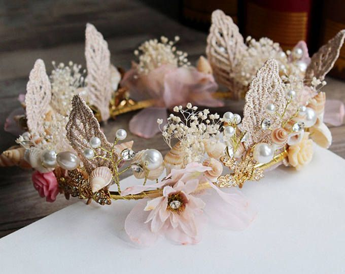 Rose Gold Floral Hair Vine of Wired Flowers Pearls and leaves Beaded Woodland Wedding Hair Halo Flower Crown Boho Wedding Bridal Hair Wreath