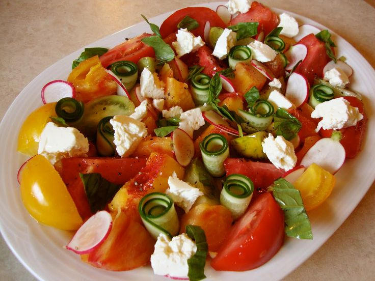 Image detail for -... carrot salad with scallions and sesame seeds and heirloom tomato salad