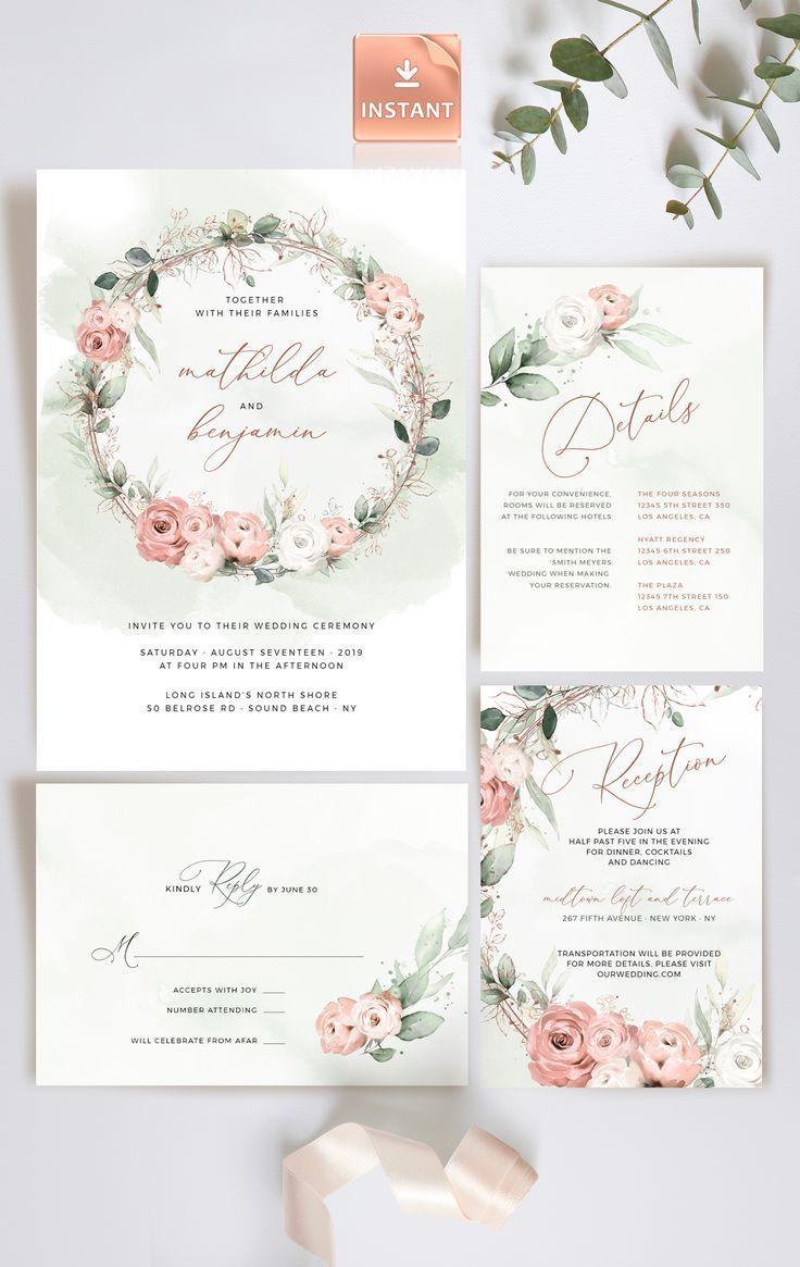 BOHEMIAN Wedding Invitation Template Set Roses And Eucalyptus